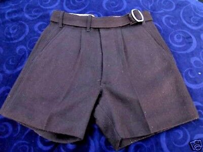 Vintage 1940s Brown Belted Wool Sport Trunks Shorts School Teddy Boy Youth XS