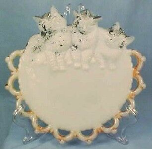 EAPG Antique THREE KITTENS MILK GLASS CHILDS PLATE VG