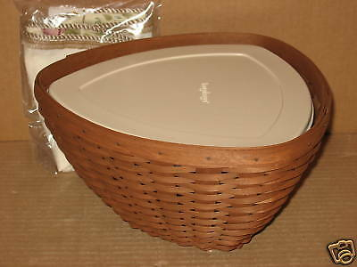 Longaberger Large Triangle Rich Brown stain basket w/prot Botanical Fields liner