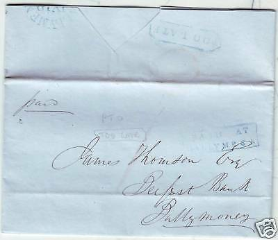 1847 Blue Too Late On Ballymena Belfast Banking Letter
