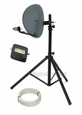 Satellite Tripod+ 43cm Sky Dish Kit inc 10m Cable,Satfinder Freesat Caravan etc