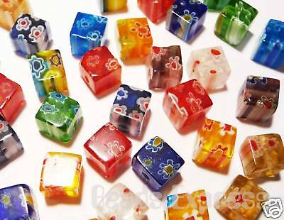 30pc Millefiori Glass Cube Beads Mixed Colours 6mm D602