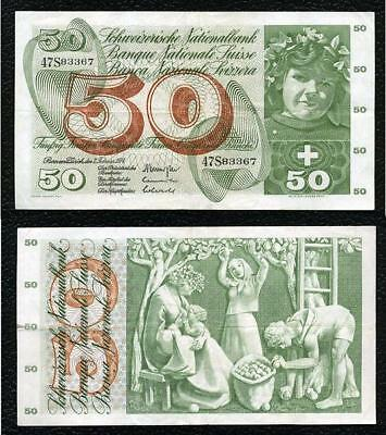 Switzerland P-48n  7.2.1974  50 Franken-Grades VF