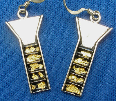 Stream Sluice Earrings Sterling Silver, Pure Gold flakes, pan dredge prospector