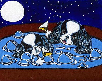 JAPANESE CHIN Hot Tub & Martini Dog Art PRINT Painting