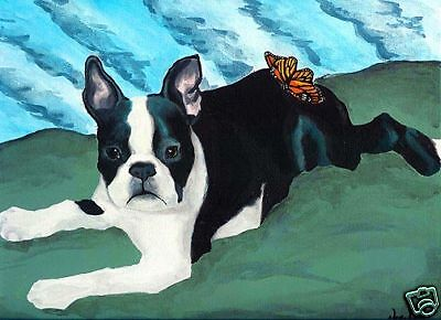 BOSTON TERRIER Butterfly Dog Art PRINT Painting by VERN
