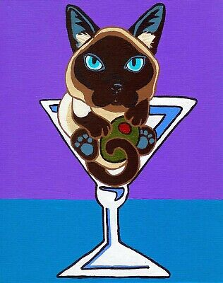 SIAMESE CAT MARTINI Glass Art PRINT of Painting by VERN