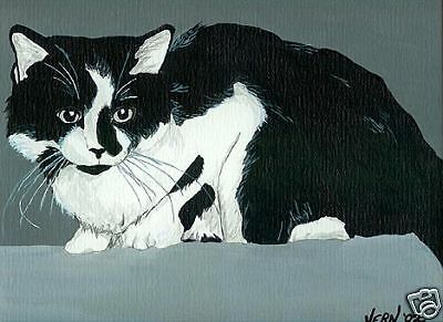CAT Black & White DLH Art PRINT of Painting by Vern