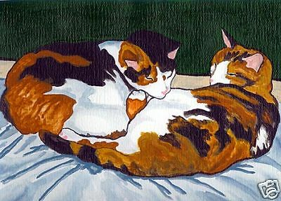CALICO CATS CAT Art PRINT of Acrylic Painting by Vern