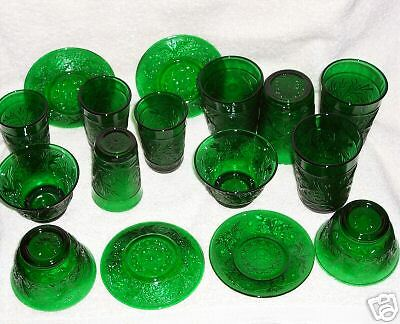 Old Glass Dishes from 1960-1970 - Color is Forest Green