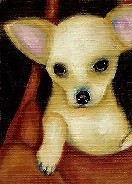 ACEO Chihuahua Purse Dog Art PRINT of Painting by VERN
