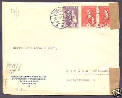 Denmark To Germany Censor Cover 1941 w Pair + 1 Stamps  L@@K