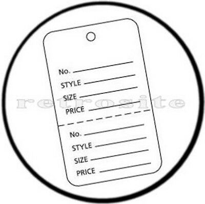 1000 Small Price Tags W/ Strings WHT 2-part Perf strung