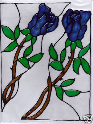 4 faux stained glass blue rose corner window clings