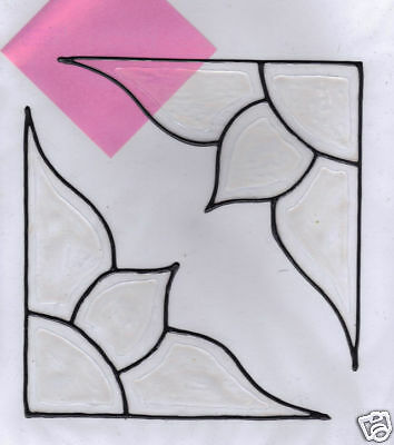 2 faux stained glass bevel corner window clings