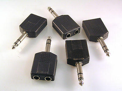 6.35mm Jack Plug to 2 x 6.35mm Jack Sockets Stereo Splitter 5 Pieces OM705