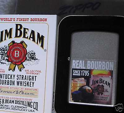 ZIPPO  JIM BEAM Lighter REAL BOURBON Whiskey MIT New Old Stock 2007
