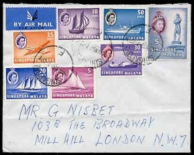 Singapore 1960 cover, seven stamps to $1