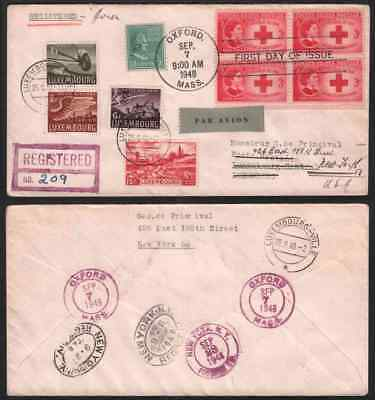 Luxembourg 1948 roundtrip FDC from USA nine stamps/Prexie 13c-A