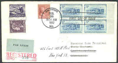 Luxembourg 1952 cover/USA Train/Prexie 18c/UPU 2fr, 4fr