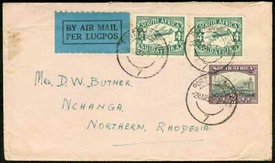 Northern Rhodesia 1932 flown cover S. Africa to NCHANGA