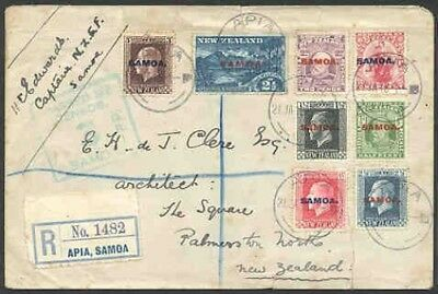 Samoa 1918 regis. cover/ovptd. New Zealand issues (x8)