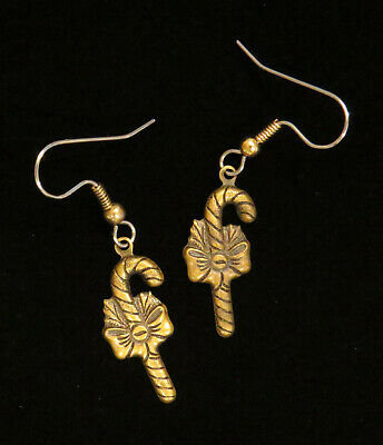 Candy Canes Earrings Brass Christmas Holiday Bows