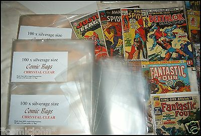 100 x SILVER AGE SIZE COMIC BAGS AND BACKING BOARDS  (size C)