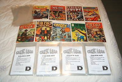 100 x GOLDEN AGE SIZE COMIC BAGS & BACKING BOARDS. SIZE D