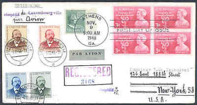 Luxembourg 1948 roundtrip FDC from USA nine stamps/Prexie 13c-2