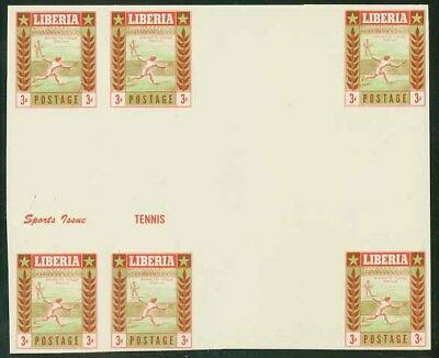 Liberia 1955 Tennis DOUBLE INTERPANNEAU PROOF BLOCK