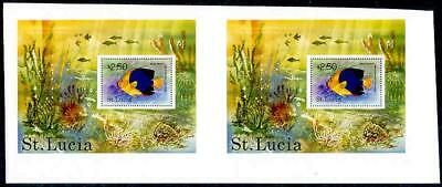 St. Lucia 1978 Tropical Fish $2.50 SS proof PAIR