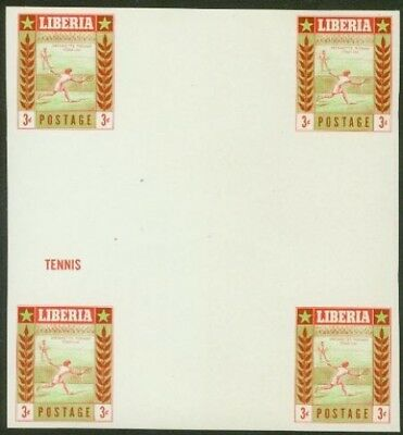 Liberia 1955 Tennis 3c DOUBLE INTERPANNEAU PROOF BLOCK