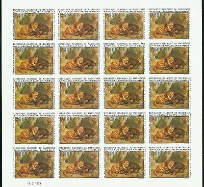 Mauritania 1973 Lion Paintings imperf SHEETS OF 20