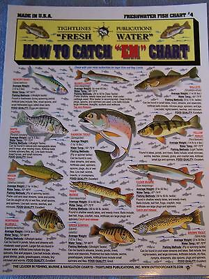 "FRESHWATER FISH How to Catch ""EM"" Chart - Tightline Tightlines Publications #4"