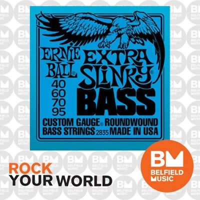 Ernie Ball 2835 Extra Slinky Bass Guitar Strings 40-95 .040-.095 Roundwound