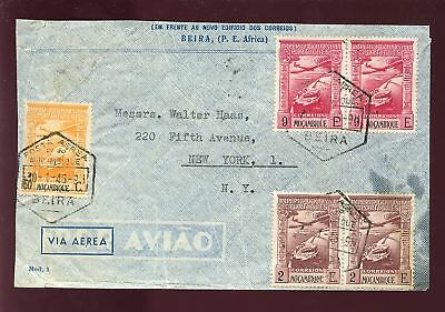 MOZAMBIQUE 1946 AIRMAIL COVER...BEIRA to NY USA