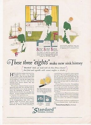 1927 PRINT AD FOR Standard Plumbing Fixtures Three Eights