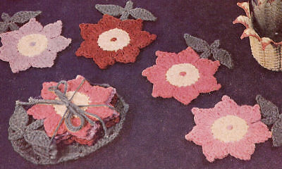 Vintage Crochet PATTERN Flower Floral Glass Coaster Set