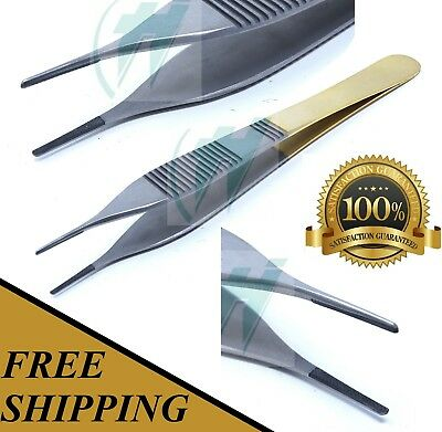 """T/c Adson Dressing Forceps 4.75"""" Serrated Surgical W/ Tungsten Carbide Insert"""