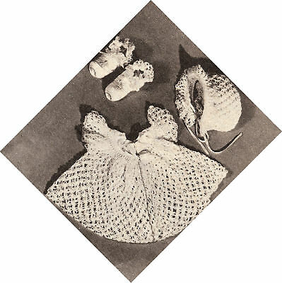 Vintage Crochet PATTERN to make Baby Set Sacque Dress Bonnet Booties CrochetLace
