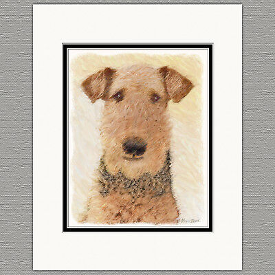 Airedale Terrier Dog Original Art Print 8x10 Matted to 11x14