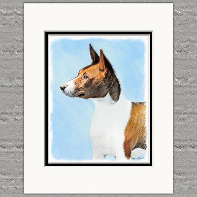 Basenji Original Art Print 8x10 Matted to 11x14