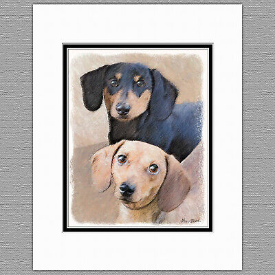 Dachshund Smooth Red Black and Tan Original Art Print 8x10 Matted to 11x14