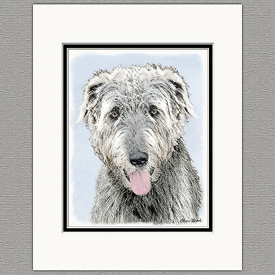 Irish Wolfhound Puppy Original Art Print 8x10 Matted to 11x14
