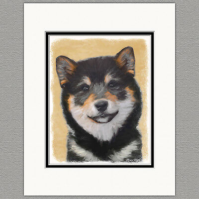 Shiba Inu Black and Tan Dog Original Art Print 8x10 Matted to 11x14
