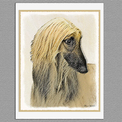 6 Afghan Hound Dog Red Cream Blank Art Note Greeting Cards