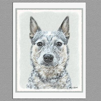 6 Australian Cattle Dog Blank Art Note Greeting Cards