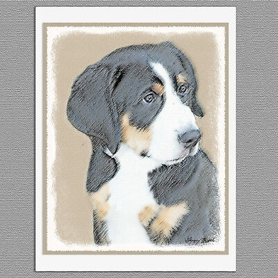 6 Bernese Mountain Dog Puppy Blank Art Note Greeting Cards