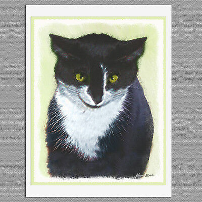 6 Black & White Tuxedo Cat Blank Note Greeting Cards